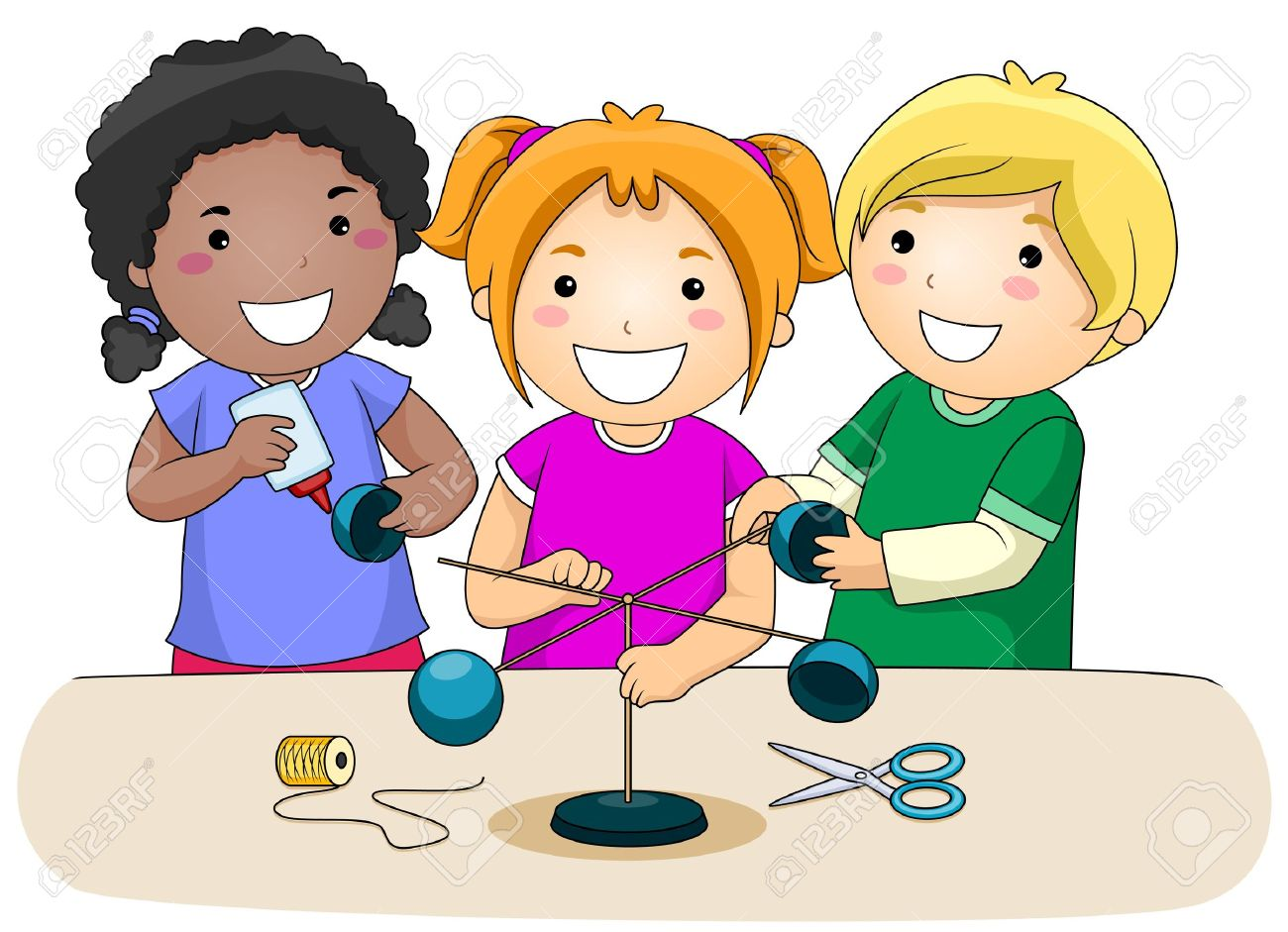 8129520 A Small Group of Kids Making an Anemometer Stock Photo cartoon science kids